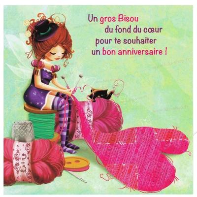 Carte Postale : Anniversaire tricoteuse à bonheur