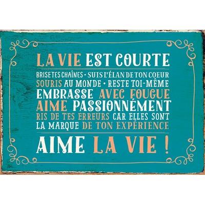 """Carte Postale Vintage : """" La vie est courte, Aime la vie! ... """""""