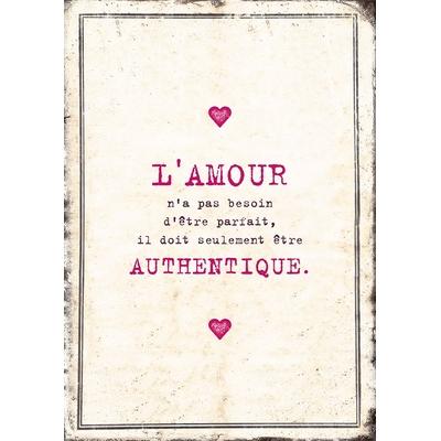 """Carte Postale Vintage : """" L'amour n'a pas besoin d'être parfait, il doit être ... """""""