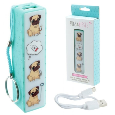 Porte-clé Chargeur USB Portable - Carlin Pugs & Kisses