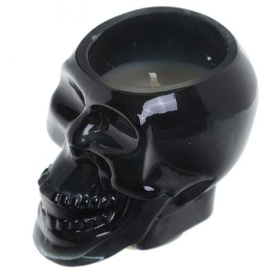 Bougie Cire de Soja Pot Crâne Noir - Rhum Brun