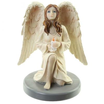 Figurine Ange Gardien Céleste par Natacha Faulkner avec Bougie