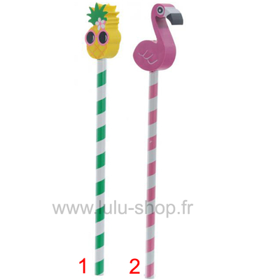 Crayon Tropical avec Bouchon Gomme Flamant Rose & Ananas