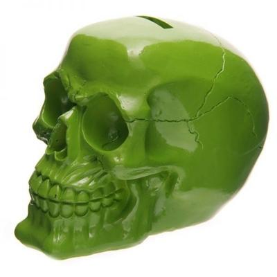 Tirelire crâne poli vert