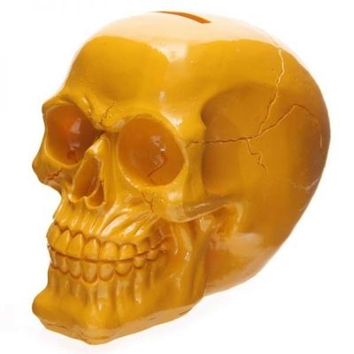 Tirelire crâne poli jaune