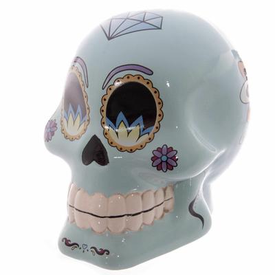 Tirelire crâne jour des morts mexicain bleu