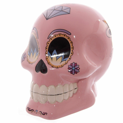 Tirelire crâne jour des morts mexicain rose