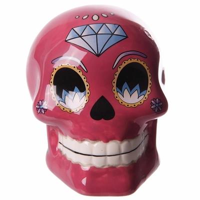 Tirelire crâne jour des morts mexicain petit modèle rose