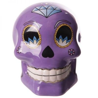 Tirelire crâne jour des morts mexicain petit modèle violet