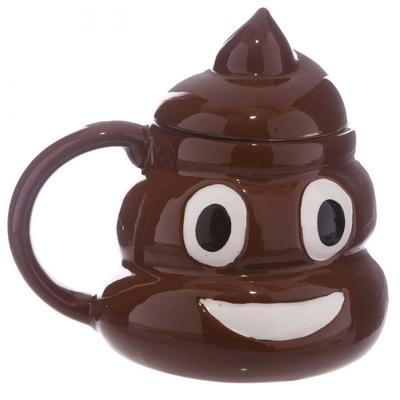 Mug Kawaii avec couvercle émoticone Poop