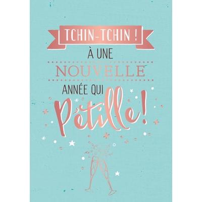 Carte Postale Bonne Année :  Tchin-Tchin! À une nouvelle année qui Pétille!