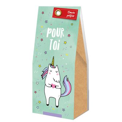 Ballotin Cadeau Licorne Bonbons Coeurs gélifiés : Pour toi