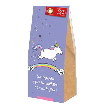 Ballotin Cadeau Bonbons Coeurs gélifiés : Quand je pète, ça fait des paillettes. Et c'est la fête!