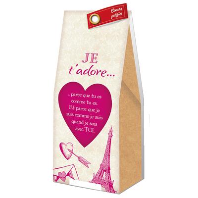 Ballotin Cadeau Bonbons Coeurs gélifiés : Je t'adore...parce que tu es comme tu es...