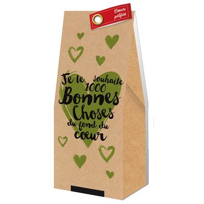 Ballotin Cadeau Bonbons Coeurs gélifiés : Je te souhaite 1000 bonnes choses du fond du coeur