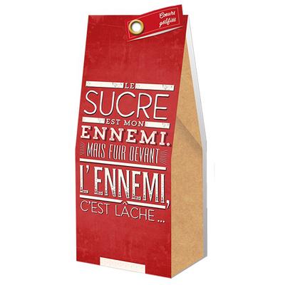 Ballotin Cadeau Bonbons Coeurs gélifiés : Le sucre est mon ennemi. Mais fuir devant l'ennemi, c'est lâche...