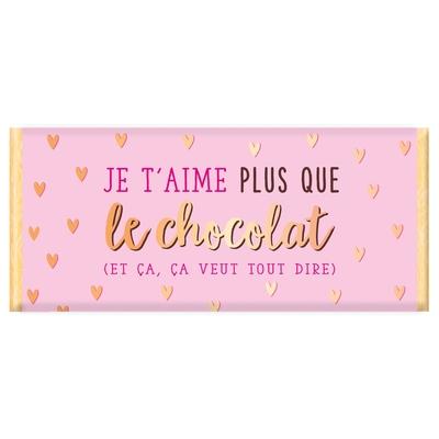 Tablette de chocolat, Message : Je t'aime plus que le chocolat (et ça, ça veut tout dire)