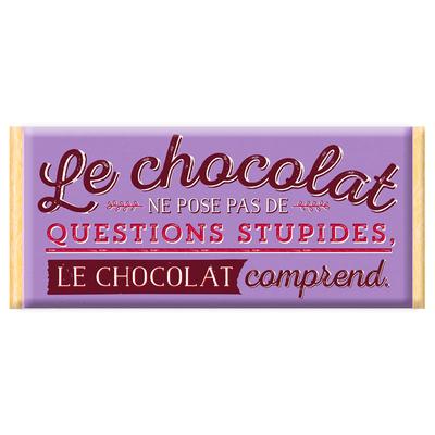 Tablette de chocolat, Message : Le chocolat ne pose pas de questions stupides. Le chocolat comprend.