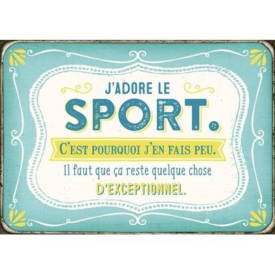 Carte Postale Vintage : J'adore le sport. C'est pourquoi j'en fais peu. Il faut que ca reste quelque chose d'exceptionnel.
