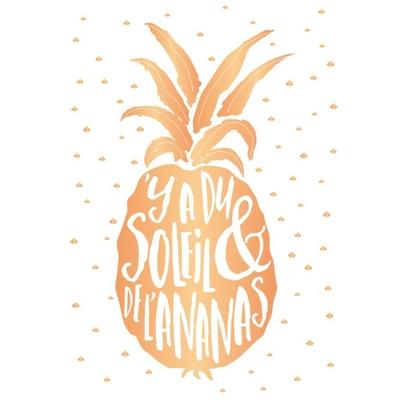 Carte postale Double : Y a du soleil & de l'ananas
