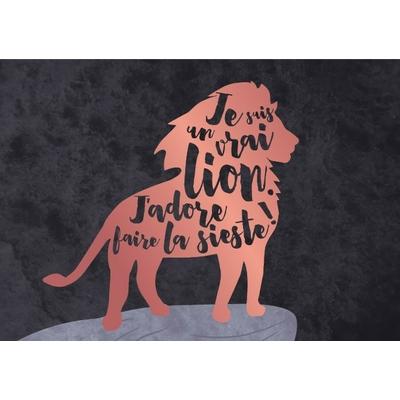 Carte postale Double : Je suis un vrai lion. J'adore faire la sieste !