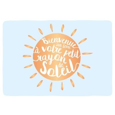 Carte postale Double : Bienvenue sur terre à votre petit rayon de soleil.