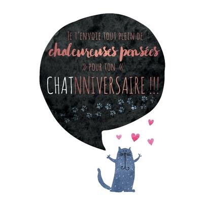 Carte postale Double : Je t'envoie tout plein de chaleureuses pensées pour ton chat-nniversaire!!!