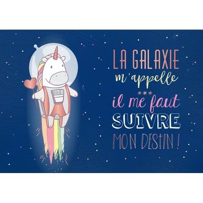Carte postale Double Licorne : La galaxie m'appelle... il me faut suivre mon destin !