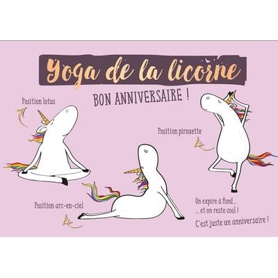 Carte postale Double Licorne :  Yoga de la licorne  BON ANNIVERSAIRE !