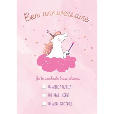 Carte postale Double Licorne : Bon anniversaire... Je te souhaite trois choses
