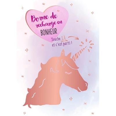 Carte postale Double Licorne : Borne de recharge en BONHEUR... Touche LÀ et c'est parti !