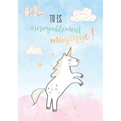 Carte postale Double Licorne : Tu es incroyablement magique !