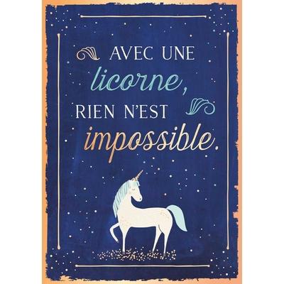 Carte postale Double Licorne : Avec une licorne, rien n'est impossible.