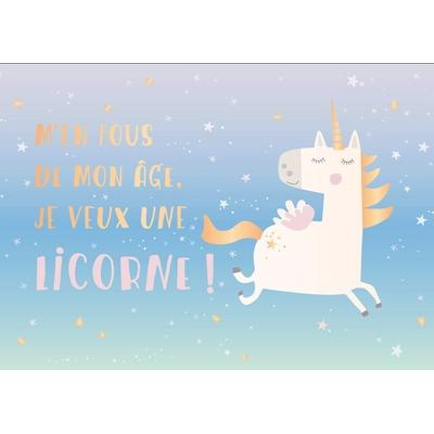 Carte postale Double Licorne :  M'en fous de mon âge, Je veux une licorne !