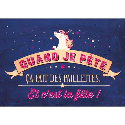 Carte postale Double Licorne : Quand je pète, ça fait des paillettes. Et c'est la fête !