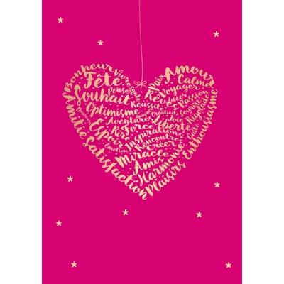 Carte Postale Bonne Année : Bonheur - Vivre santé - Paix - Amour Fête...