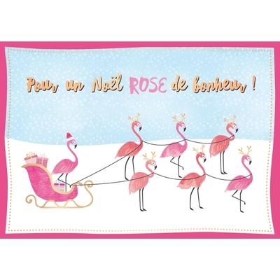 Carte Postale Noël : Pour un Noël Rose de bonheur !