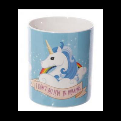 Mug en porcelaine Licorne : I Don't Believe In Humans