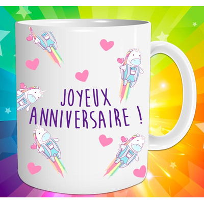 """Mug """"Licorne"""" : Joyeux anniversaire !"""