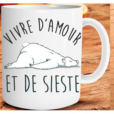 """Mug """"Art de Vivre"""" : Vivre d'amour et de sieste"""