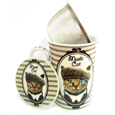 """Mug avec filtre et couvercle """"Hippy Cat"""" : Le Chat au béret"""