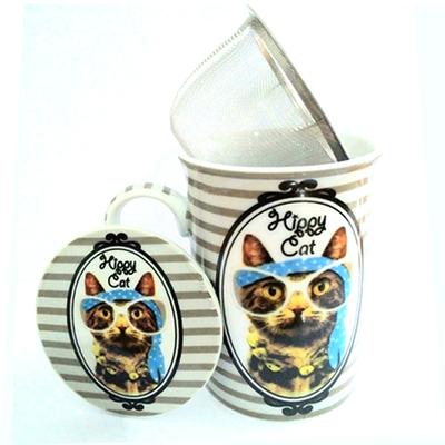 """Mug avec filtre et couvercle """"Hippy Cat"""" : Le Chat au foulard bleu"""