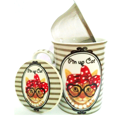 """Mug avec filtre et couvercle """"Hippy Cat"""" : Le Chat au foulard rouge"""