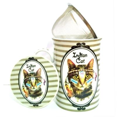 """Mug avec filtre et couvercle """"Hippy Cat"""" : Le Chat et la plume"""