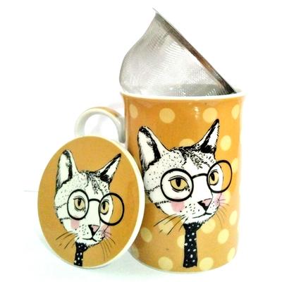 """Mug avec filtre et couvercle """"Chat Hipster"""" avec des petits ronds"""
