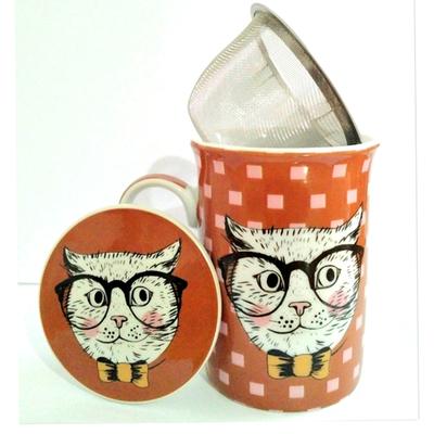 """Mug avec filtre et couvercle """"Chat Hipster"""" avec des petits carrés"""