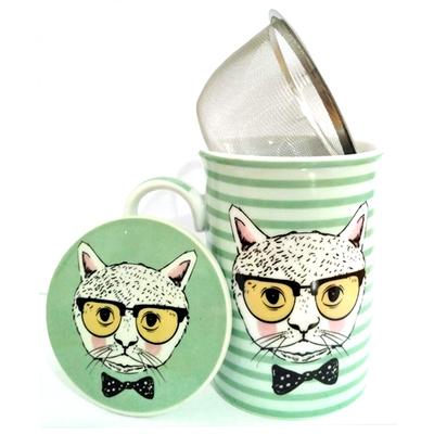 """Mug avec filtre et couvercle """"Chat Hipster"""" avec des rayures"""