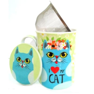 """Mug avec filtre et couvercle """"I love Cat"""" - Chat bleu"""