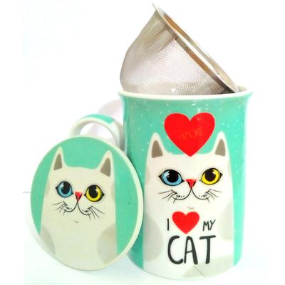 """Mug avec filtre et couvercle """"I love Cat"""" - Chat blanc"""
