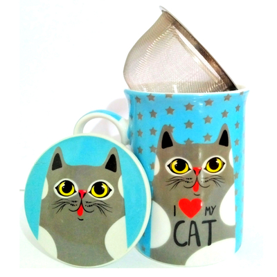 """Mug avec filtre et couvercle """"I love Cat"""" - Chat gris"""